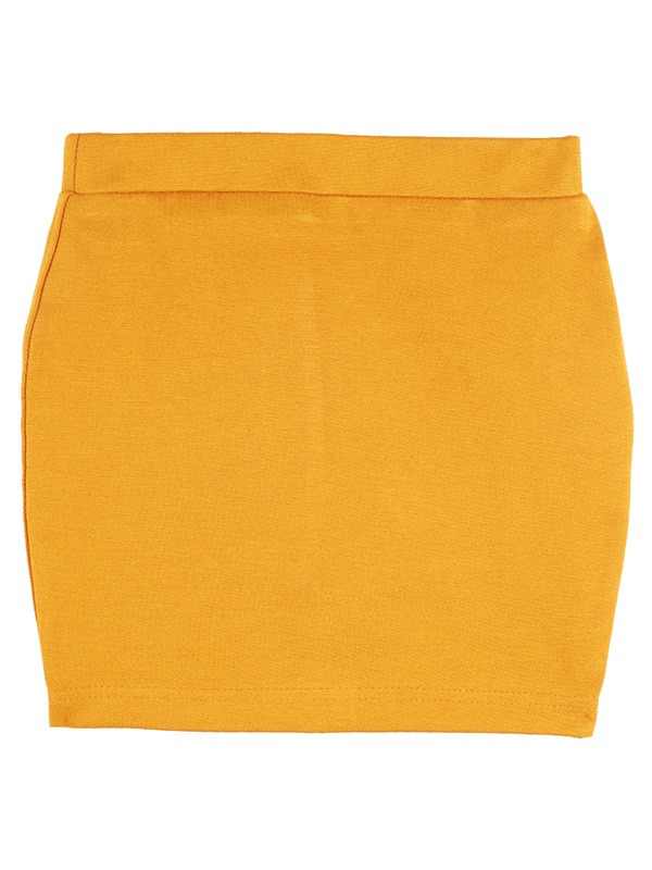 Aww Hunnie Yellow Solid Cotton-Blended Girls Skirt - M220-Mustard