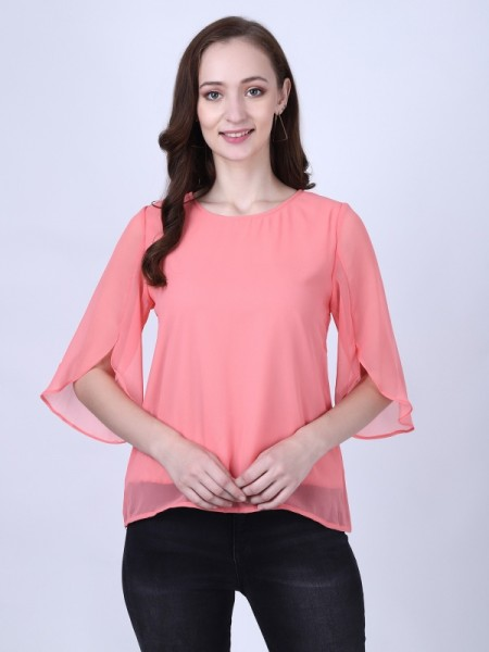 Nite Flite Cotton Printed Grey, Salmon Pink & Chocolate Brown Top & Capri Set -24092