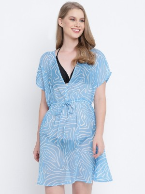 Oxolloxo Blue Printed Polyester Kaftan - S21306WBW002