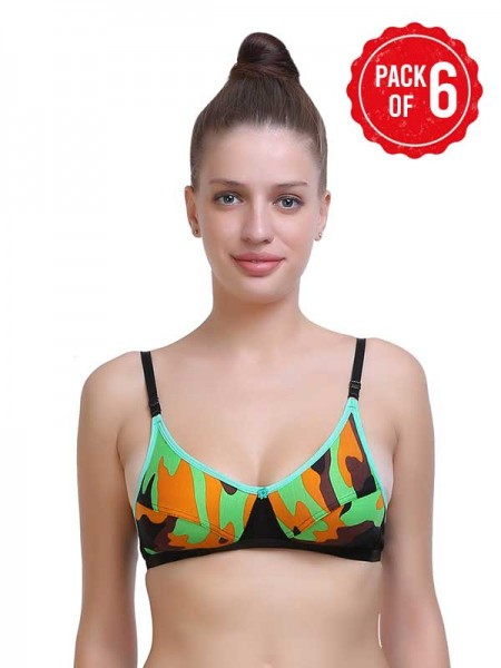 Tweens Cotton Padded Wired Demi Coverage Multicolor Bra (Pack of 2) -TW1224-2201DPK
