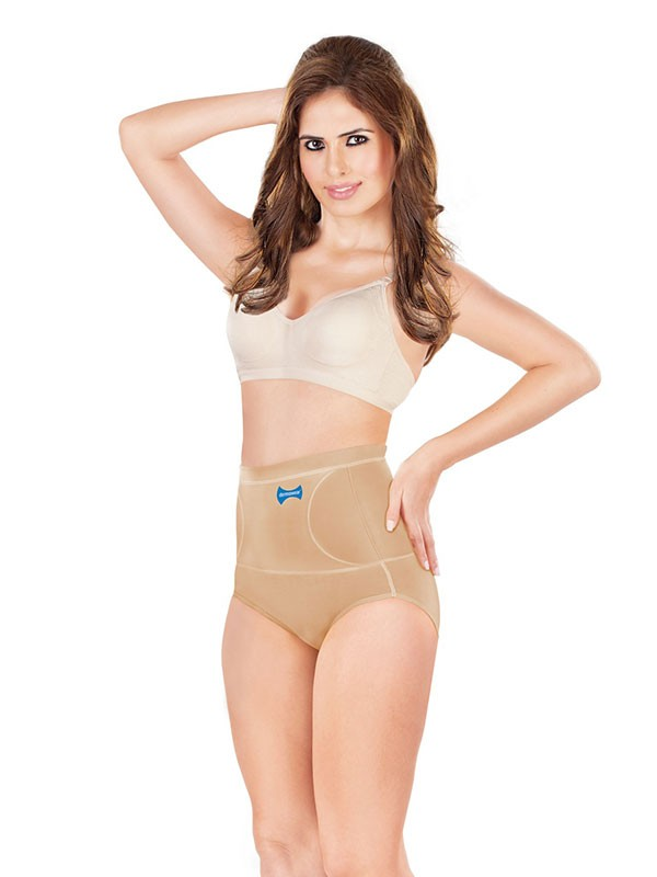 Dermawear Beige Cotton-Blended Shaping Panty - A-106A-Skin