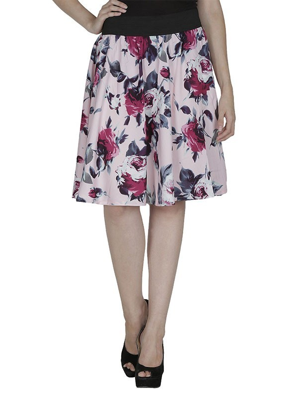 The Shopping Fever Pink Floral Print Polyester Skirts - SFSK611