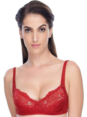 Urbaano Cotton Non Padded Non Wired Solid Full Coverage Red Bra & Panty Set-UR7032S