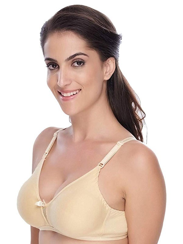 Urbaano Blended Cotton Non Padded Non Wired Full Coverage Multicolor T-Shirt Bra (Pack of 2) -URA2076C