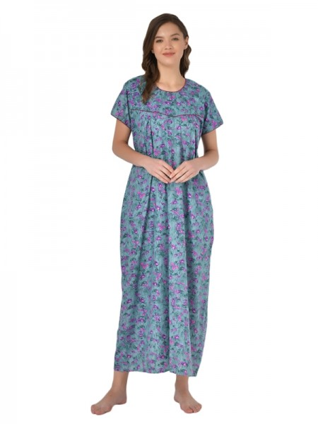 Mystere Paris Georgette & Satin Floral Printed Pink & Off White Nighty With Robe -E143B