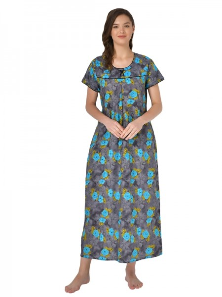 Mystere Paris Viscose Solid Blue Nighty With Robe -E203B