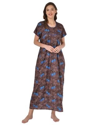 Mystere Paris Viscose Solid Grey Nighty With Robe -E203C