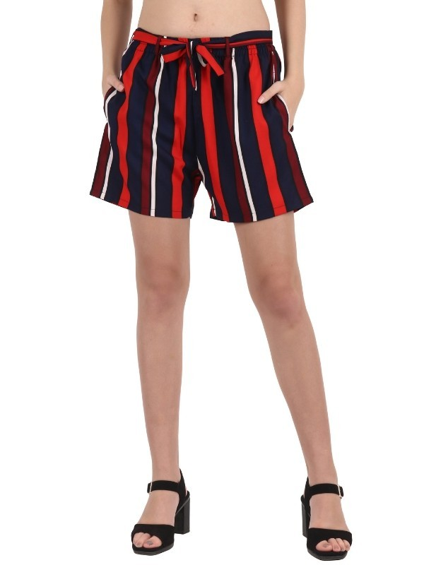 My Swag Multicolor Striped Crepe Shorts - SOT-00110-RD