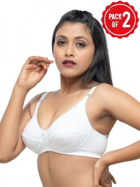 Centra Cotton Non Padded Non Wired Full Coverage Multicolor Bra(Pack of 3)- CLY1-3PC-SK-WH-RD
