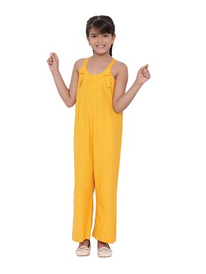Oxolloxo Yellow Solid Cotton Girls Jumpsuit - S20001GOV001