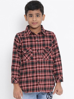 Oxolloxo Red Printed Cotton Boys Shirts - W19147BSH001