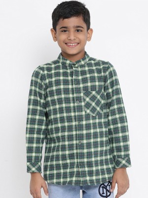 Oxolloxo Green Printed Cotton Boys Shirts - W19146BSH004