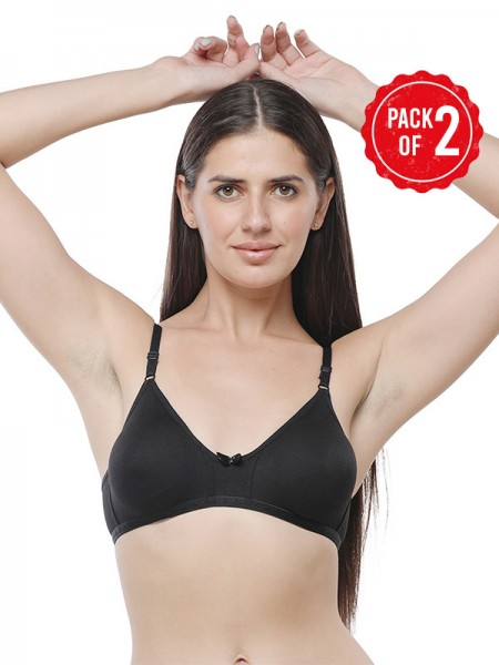 Sonari Hosiery Maroon 3/4th Coverage Non Padded Non Wired Bra (Pack of 2)-omaniablackmaroon