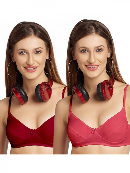 Sonari Hosiery Pink 3/4th Coverage Non Padded Non Wired Bra (Pack of 2)-omaniacarrotpink