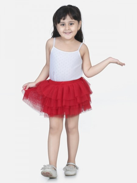 Aww hunnie Red Solid Cotton-Blended Girls Tutu Skirt - M216-Red