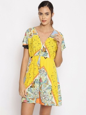 Oxolloxo Yellow Printed Polyester Beachwear Cover Up - S21173WBW001