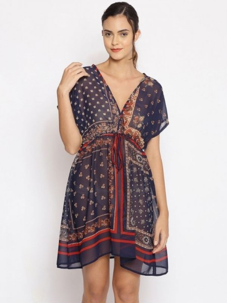 Oxolloxo Navy Printed Polyester Beachwear Cover Up - S21173WBW002