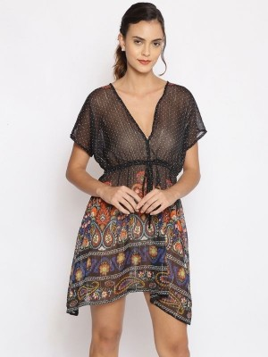 Oxolloxo Black Printed Polyester Beachwear Cover Up - S21173WBW003