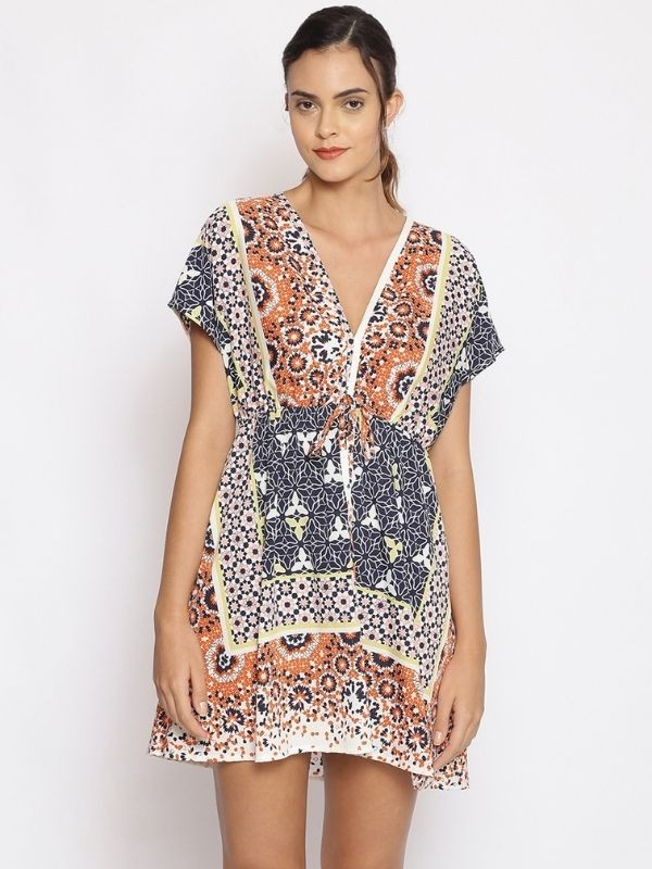 Oxolloxo Multicolor Printed Polyester Beachwear Cover Up - S21173WBW004