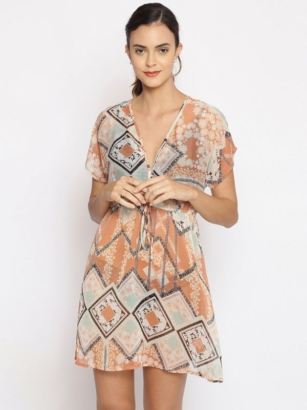 Oxolloxo Multicolor Printed Polyester Beachwear Cover Up - S21173WBW005