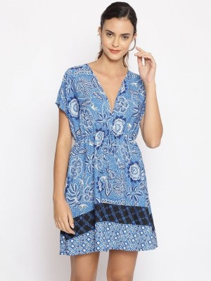 Oxolloxo Blue Printed Polyester Beachwear Cover Up - S21173WBW006
