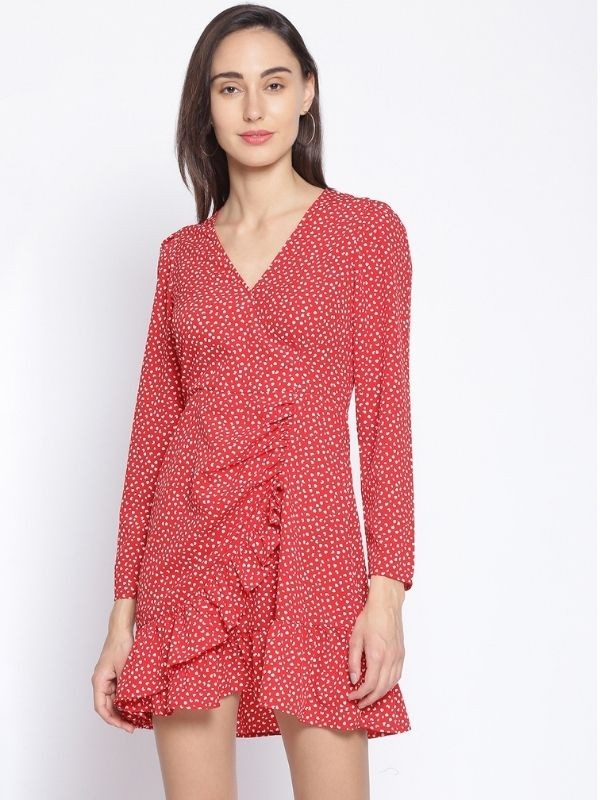 Oxolloxo Red Graphic Print Polyester Dress - S21223WDR002