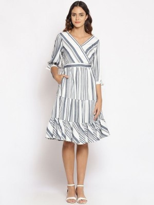 Oxolloxo White Striped Polyester Dress - S21131WDR001