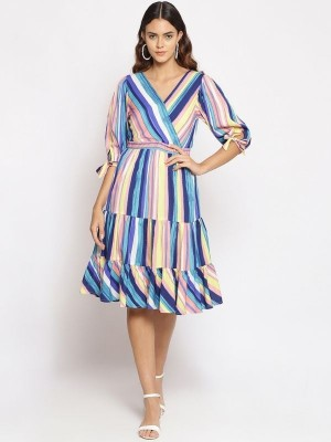 Oxolloxo Multicolor Striped Polyester Dress - S21131WDR002