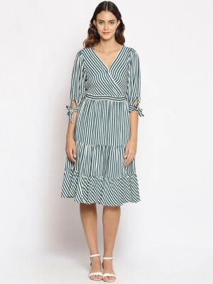 Oxolloxo Green Striped Polyester Dress - S21131WDR004