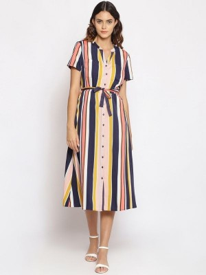Oxolloxo Multicolor Striped Polyester Dress - S21477WDR001
