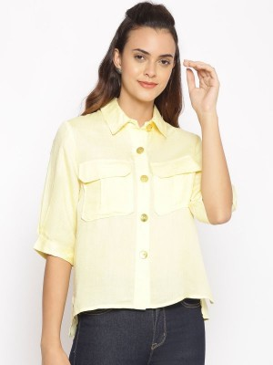 Oxolloxo Yellow Solid Cotton Shirt - S21164WSH001