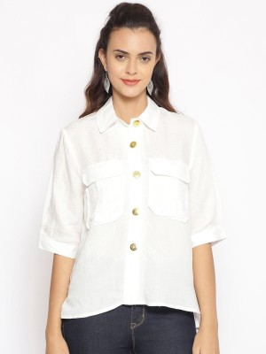 Oxolloxo White Solid Cotton Shirt - S21164WSH002