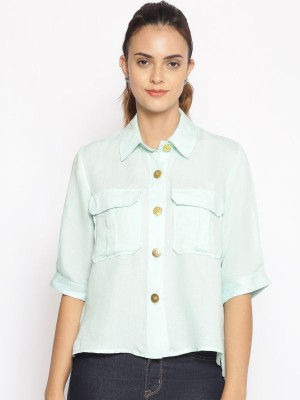 Oxolloxo Green Solid Cotton Shirt - S21164WSH003
