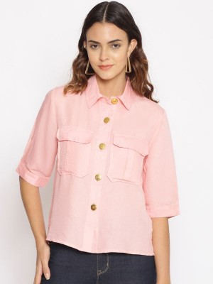 Oxolloxo Pink Solid Cotton Shirt - S21164WSH004