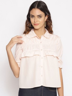 Oxolloxo Pink Solid Polyester Shirt - S21231WSH001