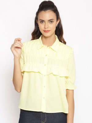 Oxolloxo Yellow Solid Polyester Shirt - S21231WSH002