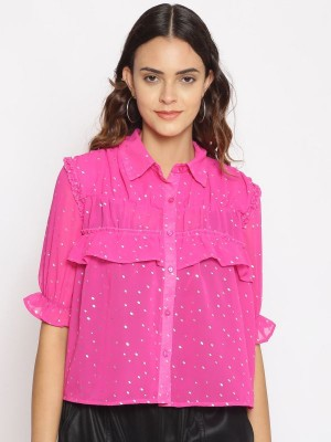 Oxolloxo Pink Embellished Polyester Shirt - S21231WSH003