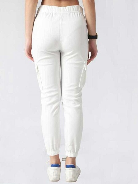 Mythya Crepe White and Blue Solid Casual Wear Tops-MYTHP0029