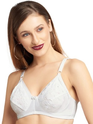 Polycotton Lace Non Padded Non Wired Full Coverage Black Bra -BR1244P13