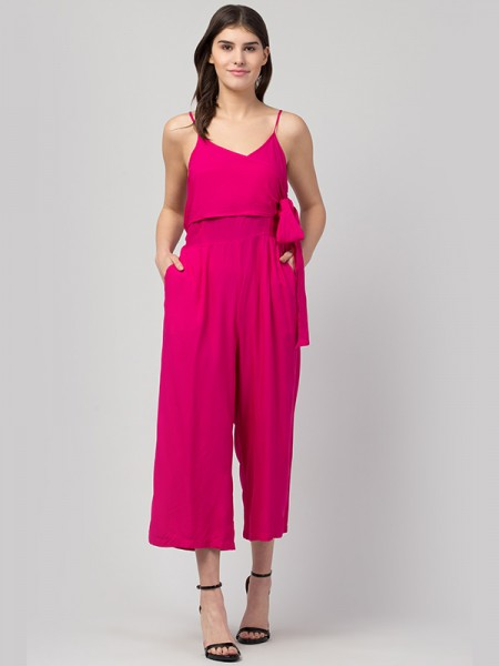 Westro Pink Solid Rayon Jumpsuit - 020174RAYONPINK