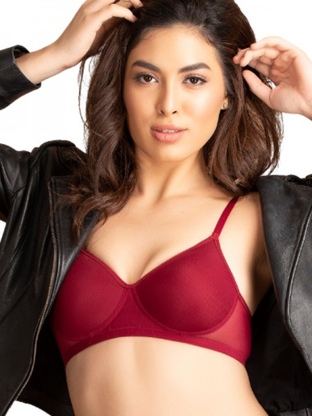 Clovia Maroon Padded Non Wired Lace T-Shirt Bra-BR1480P09