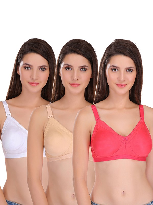 Featherline Multicolor Non Padded Non Wired Polycotton Minimizer (Pack of 3) - SS0106