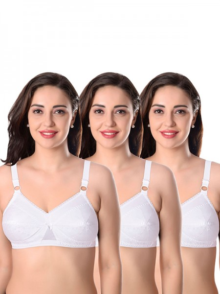 Featherline White Non Padded Non Wired Cotton Everyday Bra (Pack of 3) - SS0382